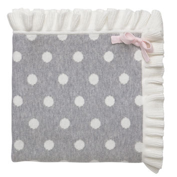 Polka Dot Ruffle Blanket - Gray and Cream