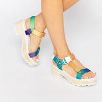 Eeight | Eeight Valentina Multi Color Chunky Heeled Sandals at ASOS