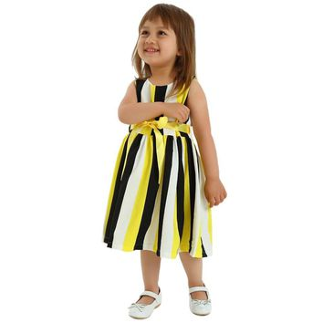 Kids Party Dresses Cotton Sashes Girl Sleeveless Cotton Sashes
