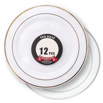 Disposable Deluxe Plastic Plates with Stamping Ring, 10-1/2-Inch, 12-Count