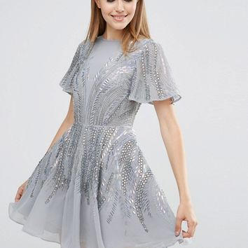 ASOS Silver Sparkle Skater Mini Dress at asos.com