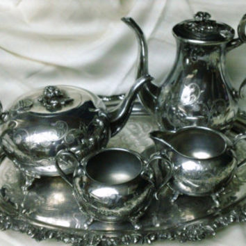 Vintage 1960's Sheffield England Silver Plate 5 piece Serving Set Tea Coffee Creamer Sugar Tray