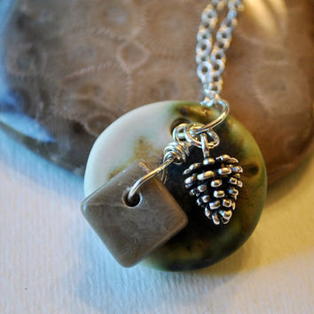 Handcrafted ceramic pendant, Petoskey stone Michigan charm and sterling silver pine cone charm,  Michigan necklace, Up North