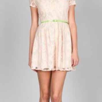 Atrium Garden Floral Lace Belted Turn Collar Dress in Blush by Ark & Co | Sincerely Sweet Boutique