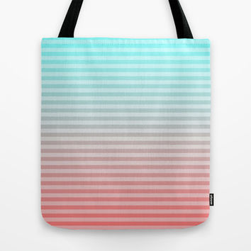 Beach Blanket - Aqua/Peach Tote Bag by Lyle Hatch