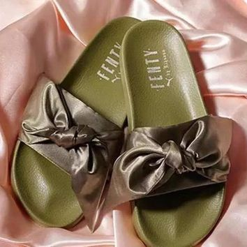 Best Online Sale Puma Fenty By Rihanna Satin Bow Slide Sandals Women Olive green Slipper