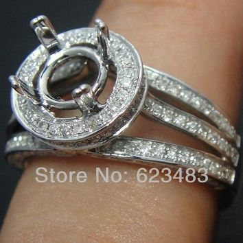 SOLID 14K WHITE GOLD 8MM ROUND CUT DIAMOND SEMI MOUNT ENGAGEMENT RING