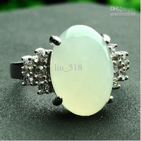 925 silver inlaid natural and nephrite Ring / Ring Nvjie Ms. jade ring with certificate