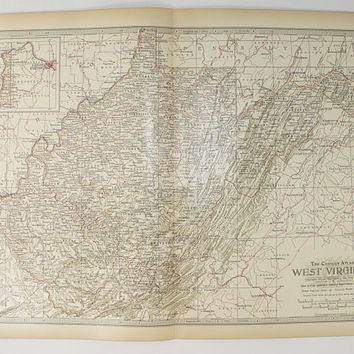 Antique West Virginia Map 1899 Century WV Map, West Virginia State Map, Vintage Home Decor, 11 x 15 map, Vintage Map WV, Collectable Map