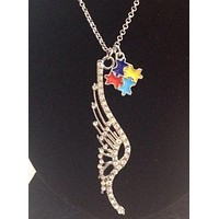 Crystal Angel Wing Charm with Colorful Puzzle Autism Awareness Charm Necklace