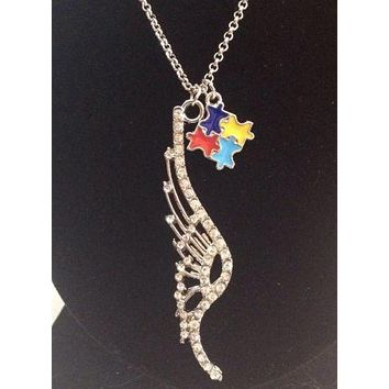 Crystal Angel Wing Charm with Ribbons for Autism Charm Necklace