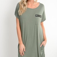 Olive Zipper Pocket Shift Dress