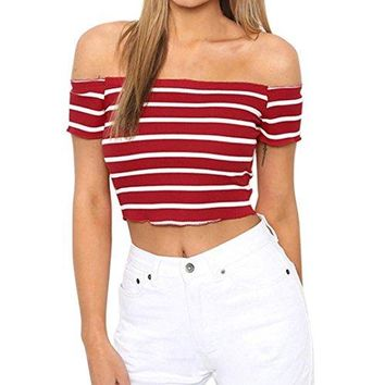 TOOPOOT 2018 New Strapless Blouse,Sexy Off Shoulder Short Sleeve Crop Tops Shirts Casual Striped Blouses
