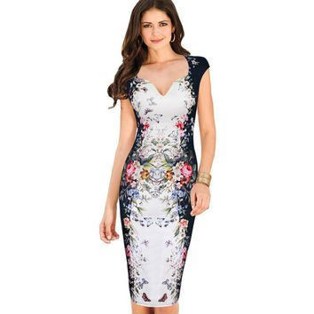 Womens Summer Dresses Elegant Floral Butterfly Print Charming Pinup Cap Sleeve Casual Party Bodycon Sheath Dress 200