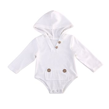 Cotton Newborn Baby Boys Girls Clothes Hooded Long Sleeve Romper Jumpsuit Clothes Outfits