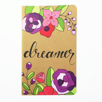 Hand Painted Moleskine Notebook, Travel Diary, Hand Lettering, Cahier Kraft Journal, Purple and Red Flowers, Dreamer
