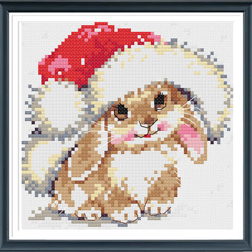 Lovely Rabbit,Funny Cross Stitch Pattern,Counted Cross Stitch,Instantly Download
