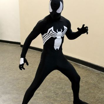 Black Venom Symbiote Spiderman Costume Zentai Spidey Suit Halloween Cosplay Full Body Costume for Adults and Kids