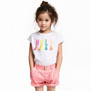 short sleeve t shirt letter applique cotton