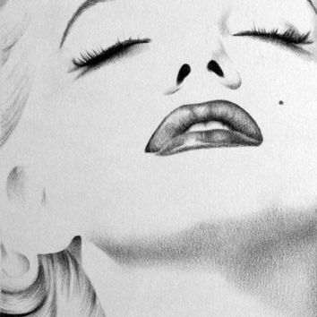Marilyn Monroe Pencil Drawing Fine Art Classic Hollywood Glamour Portrait Print Hand Signed