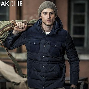 Down Parka Grey Duck Down Hooded Body Stuffing Grey Duck Down Content Wool Patchwork Outwear