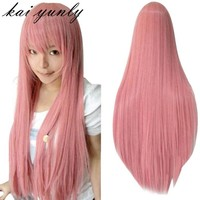 1PC 80CM Long Straight Cosplay Wig Multicolor Heat