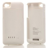 DC (White) Super Quality External 1900mah Battery Pack Power Station for Apple Iphone 4/4S with Protective Back Cover Go Portable Case Charger for At&t and Verizon