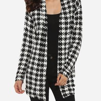 Casual Cross Back Asymmetrical Hems Collarless Cotton Houndstooth Printed Overcoats