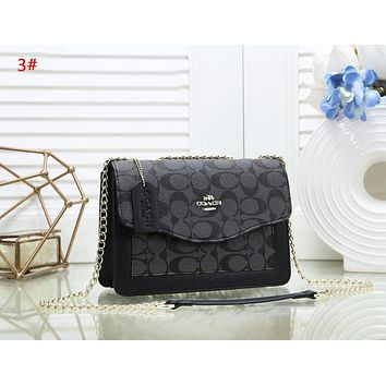 Coach Fashion New Pattern Leather Chain Shopping Leisure Shoulder Bag Women 3#