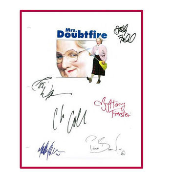 Mrs. Doubtfire Script Autographed Signed Robin Williams, Sally Field, Matthew Lawrence, Pierce Brosnan, Harvey Fierstein Chris Columbus