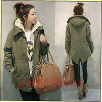 Women's Thicken Warm Hooded Jacket Zip Fleece Winter Coat Outwear Parka Tops