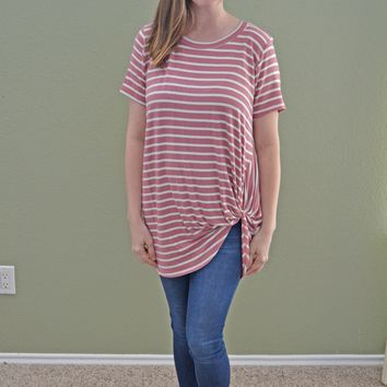Magic Twist Striped Top: Mauve and White