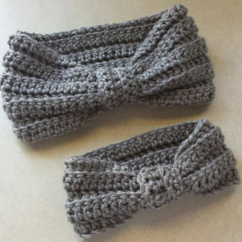 Crochet Mommy & Baby Matching Heather Gray Turbin Style Headbands Ear Warmer Headbands