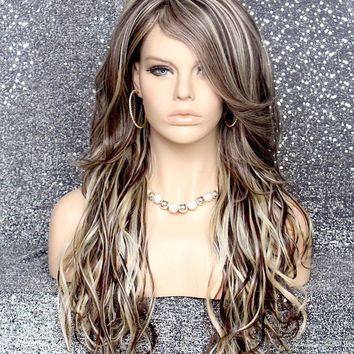 Long Beach wave Brown Blonde wig HEAT SAFE Hair piece bangs Skin Top wnta 6-613