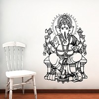 Wall Decal Vinyl Sticker Decals Home Decor Ganesh Hindu Indian God Ganesha Buddha Namaste Yoga Mandala Om Lotus Art Bedroom (6158)