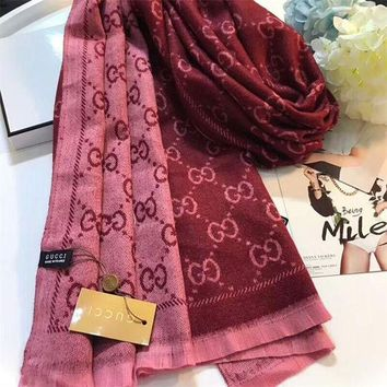 DCCKGV7 Best Online Sale Luxury Gucci Keep Warm Scarf Jacquard Scarves Winter Wool Beautiful Shawl Red Pink
