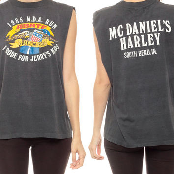 Harley Davidson Tank Top BIKER Shirt Faded Motorcycle Charity MDA Run Bald Eagle Black 80s USA Americana Tee Rocker Indiana Small Medium