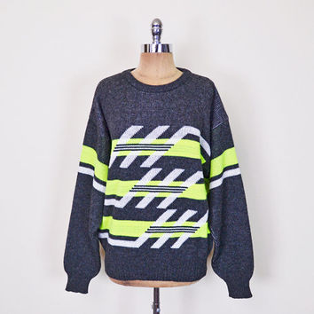 Vintage 80s 90s Neon Yellow Grey Fair Isle Sweater Jumper Fairisle Sweater Ski Sweater Oversize Sweater Hipster Sweater New Wave S M L XL