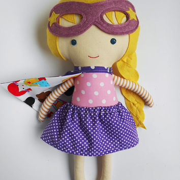 Doll superhero girl handmade rag doll with cape and mask, toddler toy gift for superhero birthday party, kids gift for girls, custom dolls