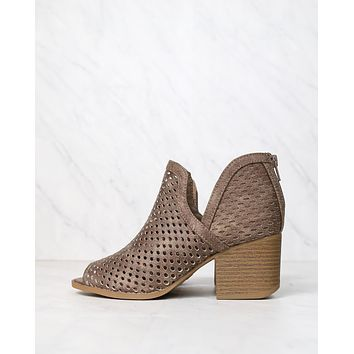 Final Sale - Ashlyn - Perforated Ankle Bootie - Taupe