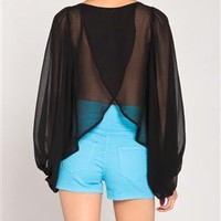 Poof Sleeves Chiffon Top in Black