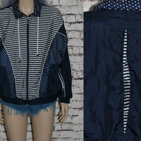 90s Windbreaker Athletic Jacket Kawaii Navy Blue White Polka Dot Stripes hipster punk grunge cyber goth 80s geo print S M L oversize cute