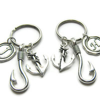 2 Fish Hook Anchor Initial Keychains, Best Friends Keychains, Couples Keychains, Sisters Keychains, Friends Keychains, Fishing Keychains
