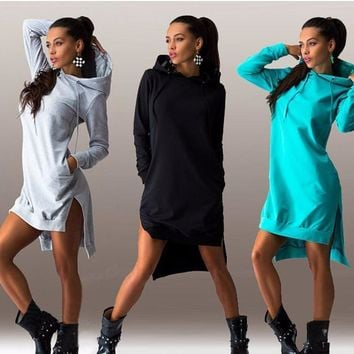 Fashion Simple Solid Color Irregular Hooded Long Sleeve Sweater Dress