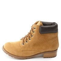 Lace-Up Lug Sole Work Boots by Charlotte Russe - Camel