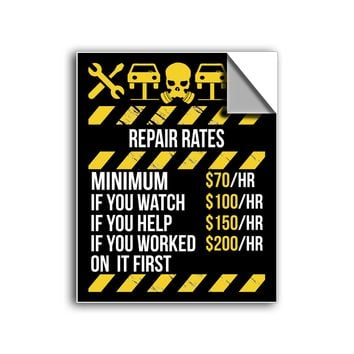 """FREE SHIPPING - """"Mechanic Repair Rates"""" Vinyl Decal Sticker (5"""" tall) - Limited Time Only!"""