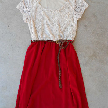 Lace & Cranberry Dress [6297] - $36.00 : Vintage Inspired Clothing & Affordable Dresses, deloom | Modern. Vintage. Crafted.