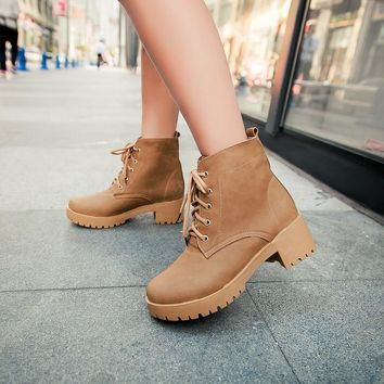 Ankle High Round Toe Lace-Up Thick Square High Heels Women's Winter Boots