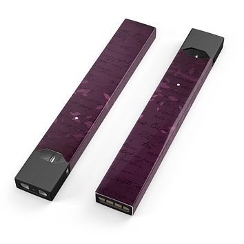 Skin Decal Kit for the Pax JUUL - Faded Pink Petals Over Burgundy Script