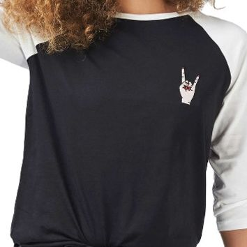 Topshop by Tee & Cake Rock Hand Baseball Tee | Nordstrom